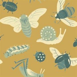 Tissu Coton Bugs Gold x 15,5cm