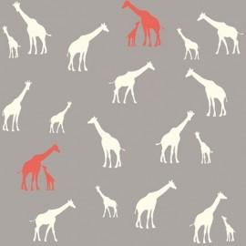 Tissu coton Giraffe Farm Grey x 10 cm