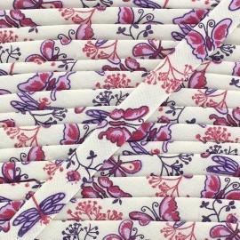 Biais replié imprimé pintemps rose / violet