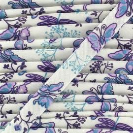 Biais replié imprimé pintemps bleu / violet