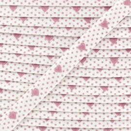 Biais replié imprimé petits coeurs rose