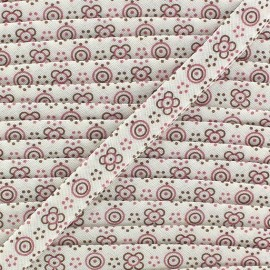 Biais replié imprimé petites fleurs rose