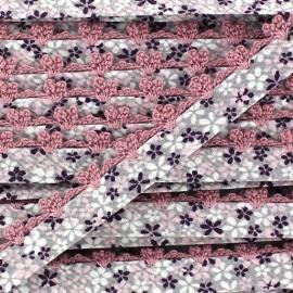Biais replié à dentellle rose x 50cm