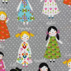 Coated cotton fabric Girly - grey x 10cm