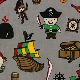 Tissu coton enduit Pirates taupe x 10cm