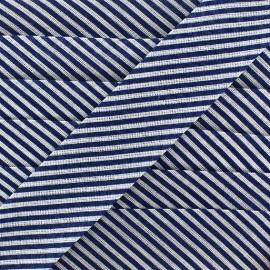 Biais rayé 25 mm bleu