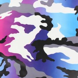 Simili cuir souple Militar bleu/violet x 10cm