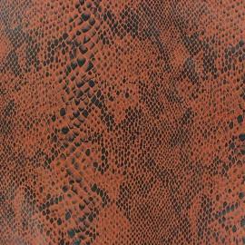 Tissu Suédine Python fond orange profond x 10cm