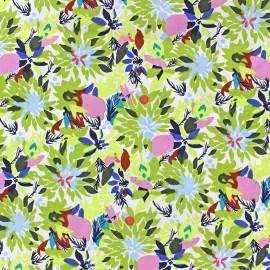 Tissu coton tropic flowers vert x 10cm