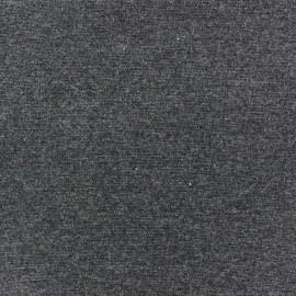 Jersey tubulaire bord-côte 1/1 gris anthracite chiné x 10cm