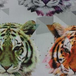Tissu Popeline impression digitale Tigre x 10cm