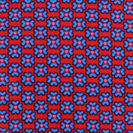 Tissu popeline Azul&Rojo Fleurs x 10cm