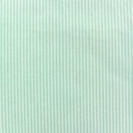 Tissu popeline Rayures blanches et vertes x 10cm