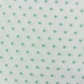 Tissu popeline Etoiles vert d'eau fond blanc x 10cm
