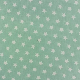 Tissu popeline Etoiles blanc fond vert d'eau x 10cm