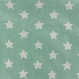 Tissu popeline grandes Etoiles blanc fond vert d'eau x 10cm