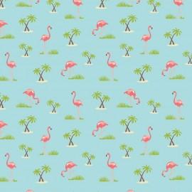 Tissu Flamingos Aqua x 10cm