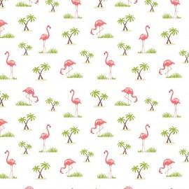 Tissu Flamingos White x 10cm
