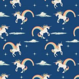 Tissu Unicorns Main Navy x 10cm
