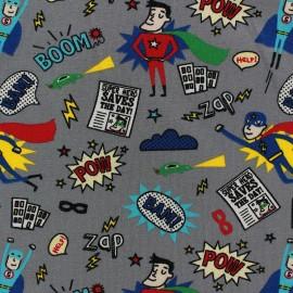 Tissu Jersey My super hero gris x 10cm
