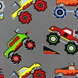 Tissu Jersey Monster truck fond gris x 10cm
