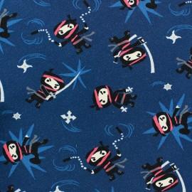 Tissu Jersey Mini Ninja fond bleu marine x 10cm