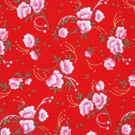 Tissu enduit coton pivoine rouge x 10cm
