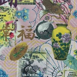 Tissu Royal Micro Satin Chinese World Pink x  31cm