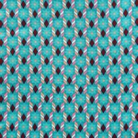 Tissu enduit coton palazzo turquoise x 10cm