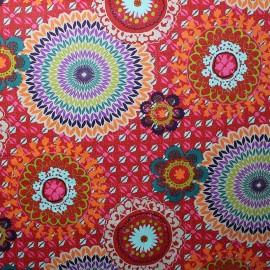 Tissu coton enduit Colima Rouge x 64,5 cm