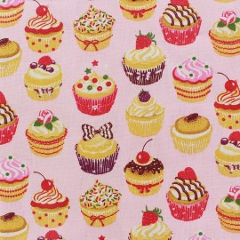 Coated cotton fabric Mini Cupcakes - pink x 10cm