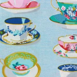 Tissu enduit coton Tea time bleu x 10cm