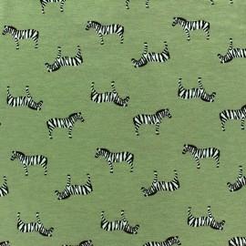 Tissu Jersey Zebra vert mousse x 10cm