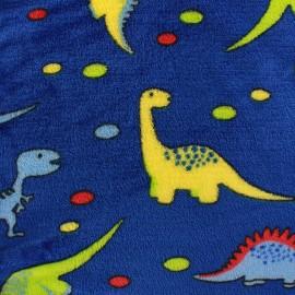 Tissu Doudou Dino bleu navy x 10cm