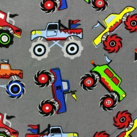 Tissu sweat envers molletonné Monster Trucks gris x 10cm