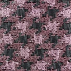 Tissu jacquard lurex Pied de poule rose x 10cm