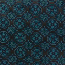 Tissu jacquard stretch Ornements vert x 10cm