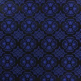 Tissu jacquard stretch Ornements bleu x 10cm