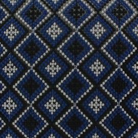 Tissu Broderie sur mousseline Losanges bleu x 10 cm