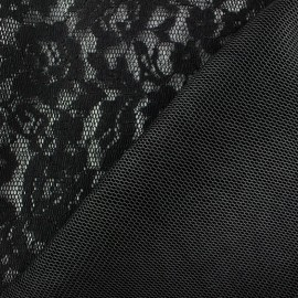 Tissu dentelle résille matelassée noir x 10cm