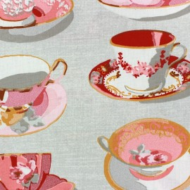 Coated cotton fabric Tea Time - pink x 10cm