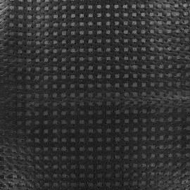 Simili cuir ajouré carré sur tulle noir x 10cm