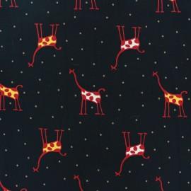 Tissu crêpe Sweet giraffe noir x 10cm