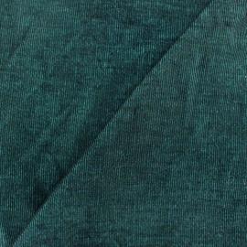 Tissu velours milleraies bicolore turquoise/noir 400gr/ml x10cm