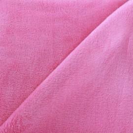 Tissu sweat envers minkee rose x 10cm