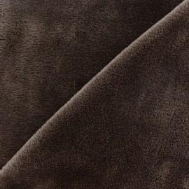 Tissu sweat envers minkee cacao x 10cm