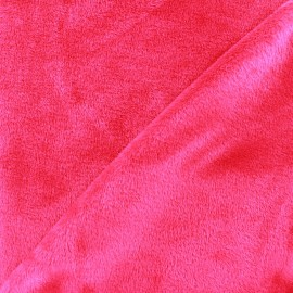 Tissu sweat envers minkee fuchsia x 10cm