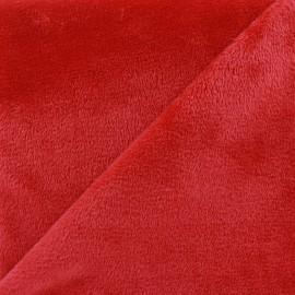 Tissu sweat envers minkee rouge x 10cm