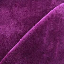 Tissu sweat envers minkee prune x 10cm