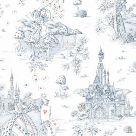 Tissu toile de coton Au pays des merveilles bleu/rouge x 62 cm